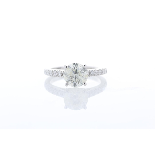 55 - Valued by GIE _43,595.00 - 18ct White Gold Single Stone Prong Set With Stone Set Shoulders Diamond R...