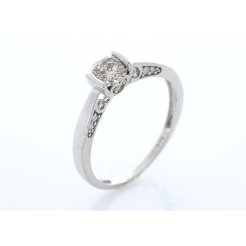 56 - Valued by GIE _9,450.00 - 18ct White Gold Single Stone Prong Set With Stone Set Shoulders Diamond Ri...