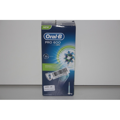 15 - GRADE U- BOXED ORAL B PRO 600 CROSS ACTION ELECTRIC TOOTHBRUSH, RRP-£29.99...