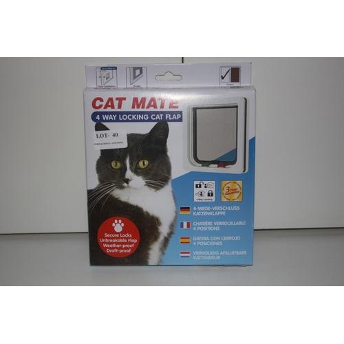 40 - GRADE U- BOXED CAT MATE 4 WAY LOCKING CAT FLAP, RRP-£15.00...