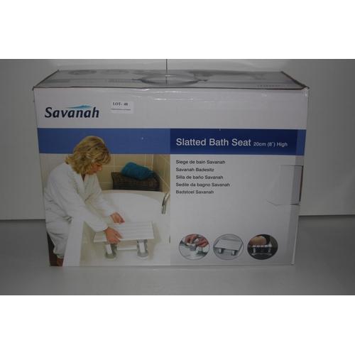 48 - GRADE U- BOXED SAVANAH SLATED BATH SEAT 20CM HIGH, RRP-£34.00...