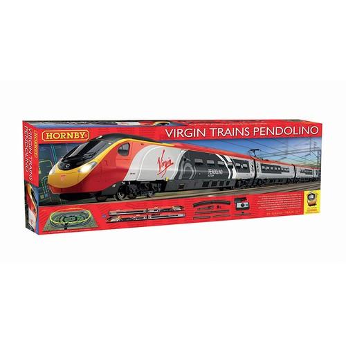 0B - GRADE U- BOXED HORNBY TRAIN SET, VIRGIN TRAINS PENDOLINO SET, INCLUDES TRAINS, TRACK, MANUALS ETC, R...