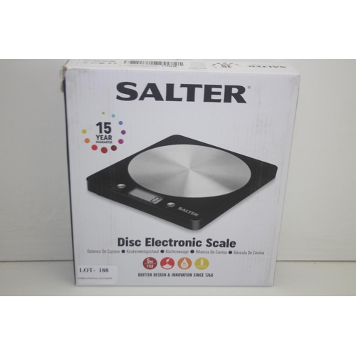188 - GRADE U- BOXED SALTER DISC ELECTRONIC SCALE RRP-£20...