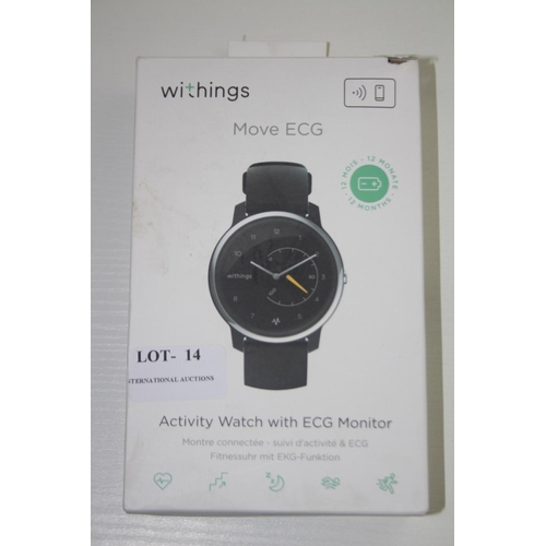 14 - GRADE U- BOXED WITHINGS MOVE ECG, ACTIVITY WATCH WITH ECG MONITOR RRP-£129.95...