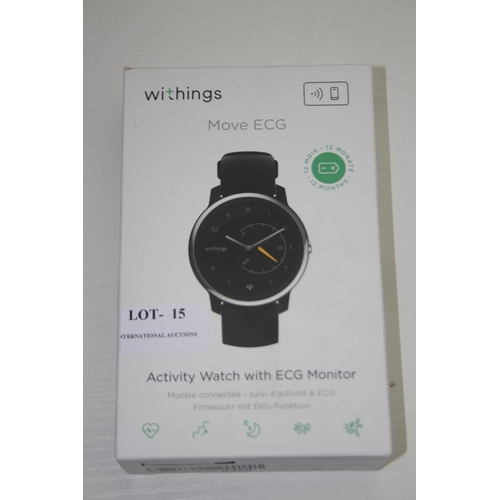15 - GRADE U- BOXED WITHINGS MOVE ECG, ACTIVITY WATCH WITH ECG MONITOR RRP-£129.95...