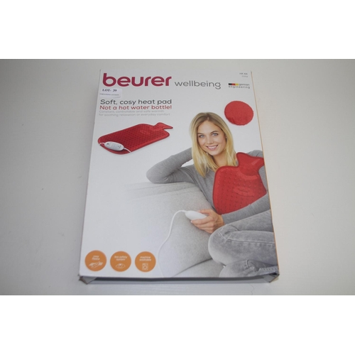 39 - GRADE U- BOXED BEURER WELLBEING SOFT, COSY HEAT PAD MODEL: HK44 COSY RRP-£29.99...