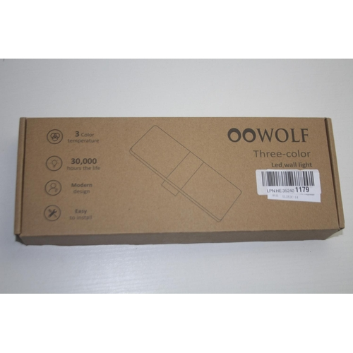 92 - GRADE U- BOXED OO WOLF THREE-COLOUR LED WALL LIGHT RRP-£25...