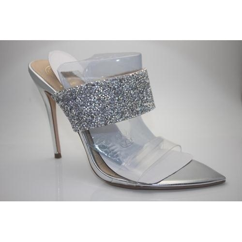 257 - GRADE A- BOXED BRAND NEW KURT GEIGER LADIES FAYE SILVER SYNTHETIC OCCASION SHOES EURO SIZE 38 RRP 99...