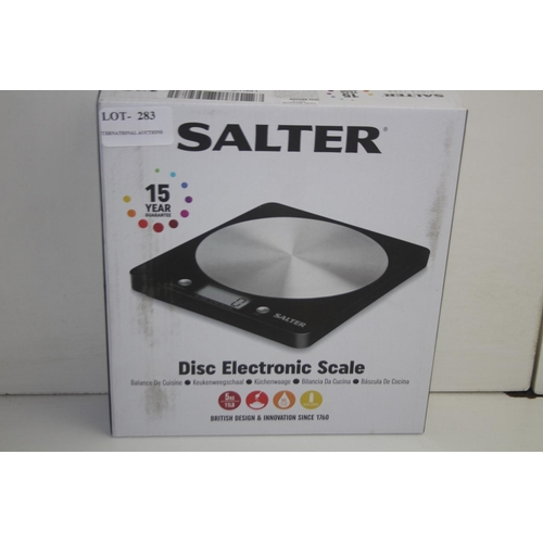 283 - GRADE U- BOXED SALTER DISC ELECTRONIC SCALE RRP-£20.00...