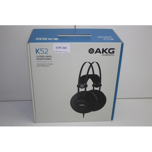 343 - GRADE U- BOXED AKG BY HARMAN K52 CLOSED BACK HEADPHONES - FOR PROJECT STUDIOS AND REHEARSALS RRP-£45...