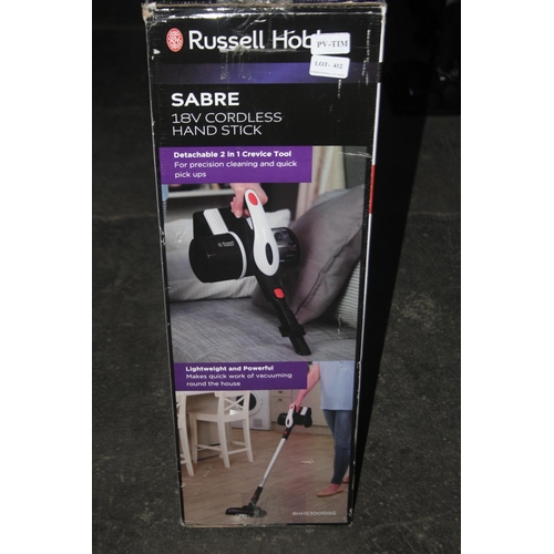412 - GRADE B- BOXED RUSSELL HOBBS SABRE 18V CORDLESS HAND STICK...