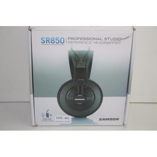 419 - GRADE U- BOXED SAMSON PROFESSIONAL STUDIO REFERENCEHEADPHONES MODEL: SR850 RRP-£40...