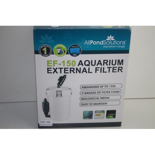 420 - GRADE U- BOXED ALL POND SOLUTIONS EF-150 AQUARIUM EXTERNAL FILTER RRP-£29.99...