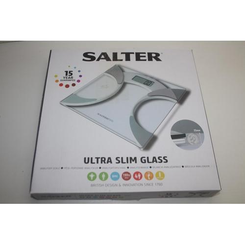 464 - GRADE U- BOXED SALTER ULTRA SLIM GLASS SCALE RRP-£24.99...