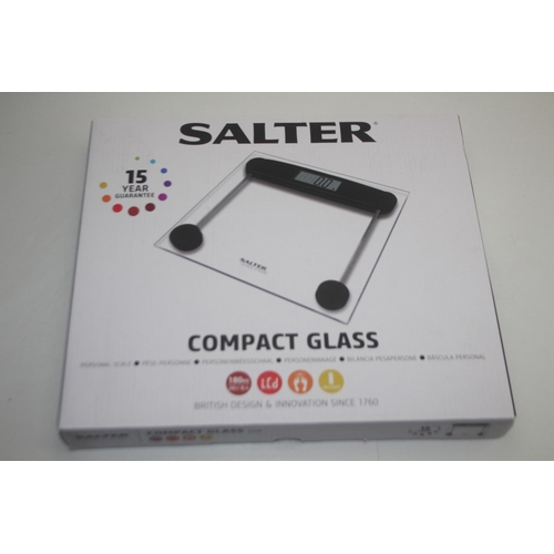 465 - GRADE U- BOXED SALTER COMPACT GLASS ELECTRONIC SCALE...