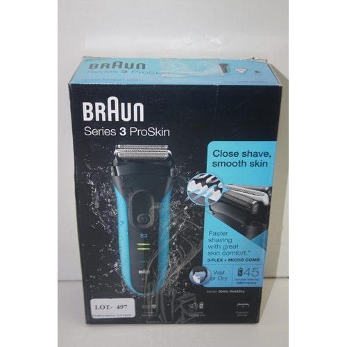 497 - GRADE U- BOXED BRAUN SERIES 3 PROSKIN 3-FLEX WET & DRY SHAVER MODEL: 3040S RRP-£49.99...