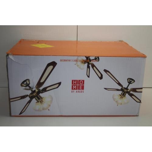 547 - GRADE B- BOXED HOME BY ARGOS DECORATIVE 3 LIGHT CEILING FAN BRASS 430/6528 RRP-£50...