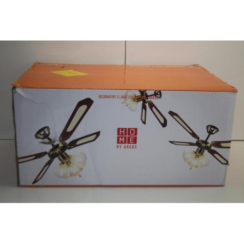 548 - GRADE B- BOXED HOME BY ARGOS DECORATIVE 3 LIGHT CEILING FAN BRASS 430/6528 RRP-£50...