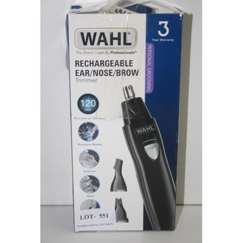 551 - GRADE U- BOXED WAHL RECHARGEABLE EAR/NOSE/BROW...
