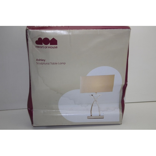 555 - GRADE B- BOXED HEART OF HOUSE ASHLEY SCULPTURAL TABLE LAMP...
