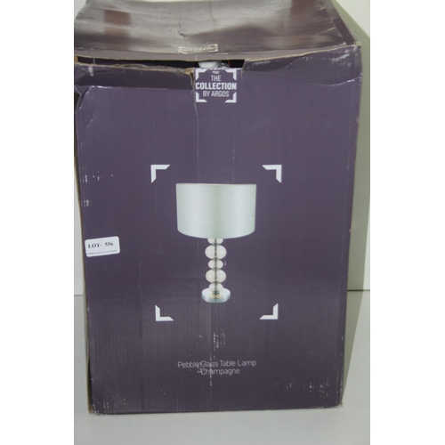 556 - GRADE B- BOXED THE COLLECTION BY ARGOS PEBBLE GLASS TABLE LAMP CHAMPAGNE 521/7159 RRP-£35...