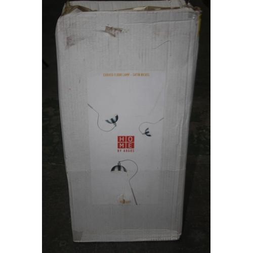 575 - GRADE U- BOXED CURVED FLOOR LAMP SATIN NICKEL 601/8293 RRP-£30...