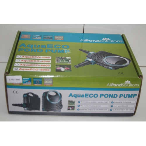 985 - GRADE U- BOXED ALL POND SOLUTIONS AQUAECO POND PUMP RRP-£74.99...