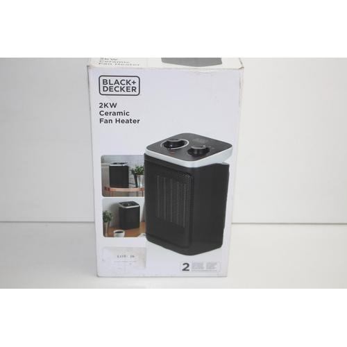 16 - GRADE B-  BOXED BLACK + DECKER 2KW CERAMIC FAN HEATER RRP-£30