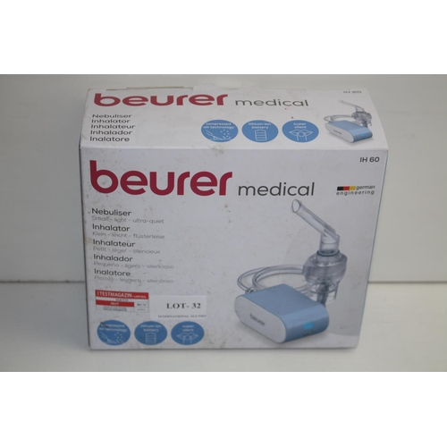 32 - GRADE B-  BOXED BEURER MEDICAL NEBULISER SMALL LIGHT ULTRA QUIET MODEL: IH60 RRP-£84