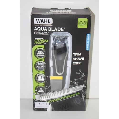 4 - GRADE B-  BOXED WAHL AQUA BLADE WET/DRY STUBBLE & BEARD TRIMMER LITHIUM POWER 2.0 RRP-£99
