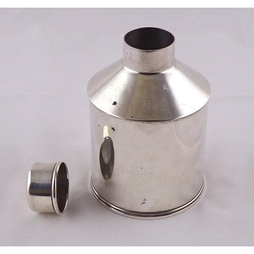 12 - An American tea caddy, white metal marked Sterling and as for Gorham Corporation.   135mm tall x 92m...