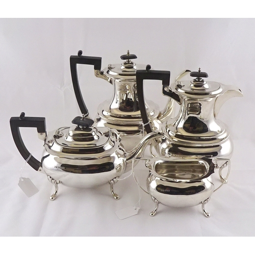 2 - A silver part tea set comprising teapot, coffee pot, water jug and sugar bowl, Walker & Hall, Sheffi...