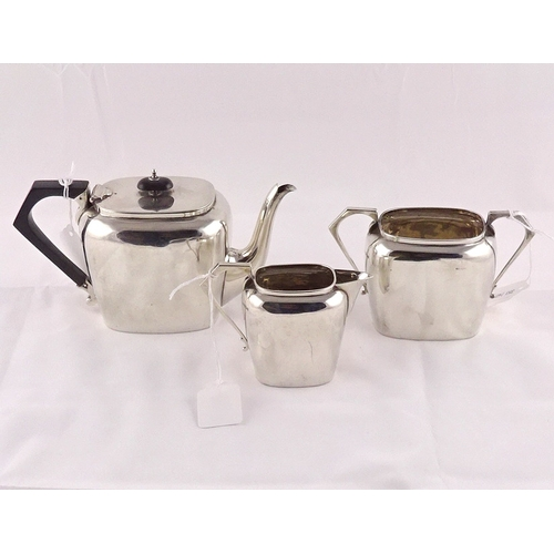 28 - An Art Deco influence silver three part tea set, 625gr gross (by instruction of the family of Dame F...