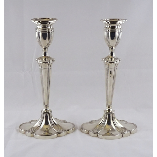 3 - A pair of George III style hollow silver candlesticks, Birmingham 1956.  700gr / 307mm (by instructi...