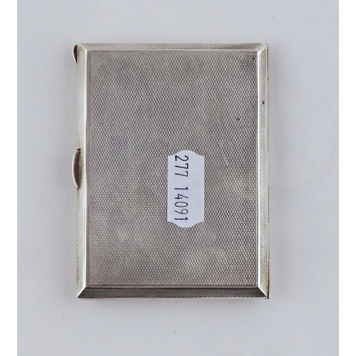 38 - A silver cigarette case having enamel decoration over engine turning, Birmingham 1937.  100gr gross ...