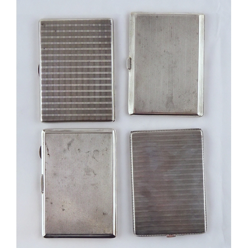 39 - Four various silver cigarette cases, each approximately 122 x 85mm. (by instruction of the family of...