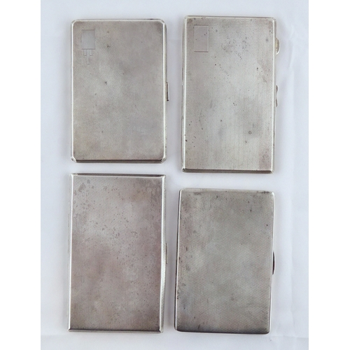40 - Four various silver cigarette cases, the largest 142 x 87mm.  735gr. (by instruction of the family o...