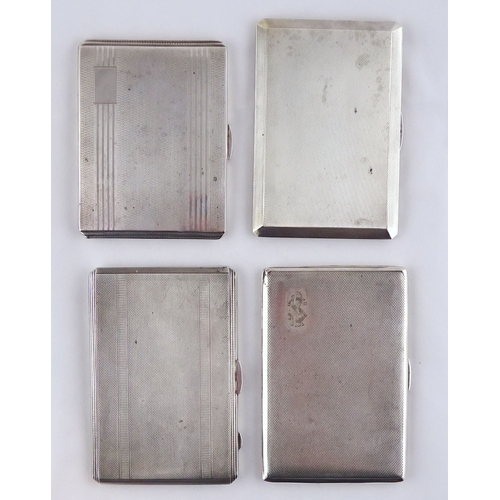 41 - Four various silver cigarette cases, largest 129 x 88mm.  760gr (by instruction of the family of Dam...