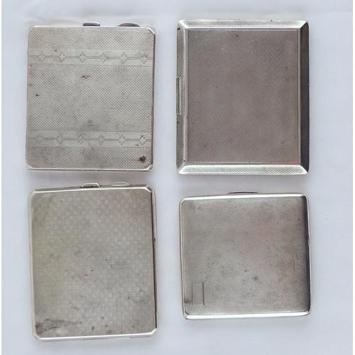 42 - A silver cigarette case having blue enamel