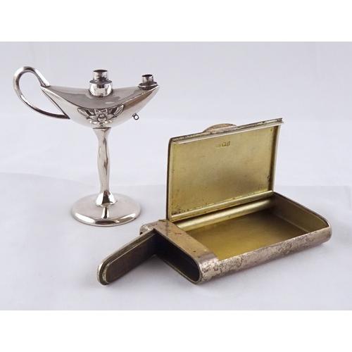 43 - A silver combination tobacco box vesta case, Frederick Thomas Buckthorpe London 1916, 95 x 60mm; two...