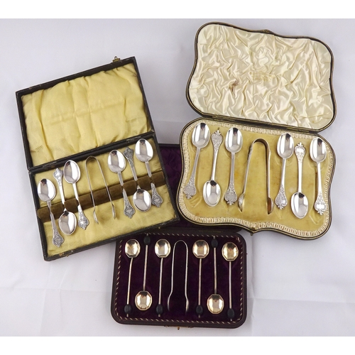50 - A cased set of six silver trefoil head teaspoons spoons with matching tongs, Ackroyd Rhodes, London ...