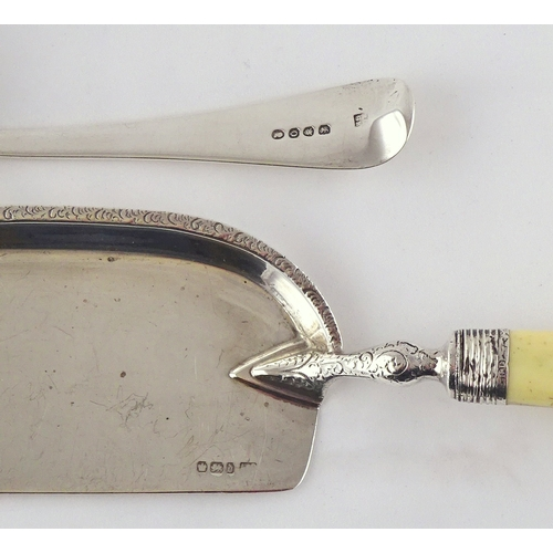51 - A Victorian silver and ivory crumb scoop, Sheffield 1896 327mm long; a George III silver crumb scoop...