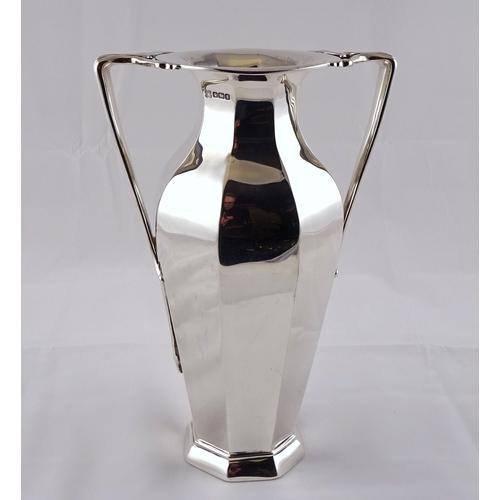 6 - An Art Nouveau / Jugendstil influence silver two handled vase, George Edward & Son, Sheffield 1910. ...