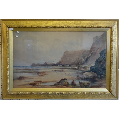 36 - The Yorkshire coast near Whitby, watercolour Frederick William Booty 1908.  97 x 59cm
