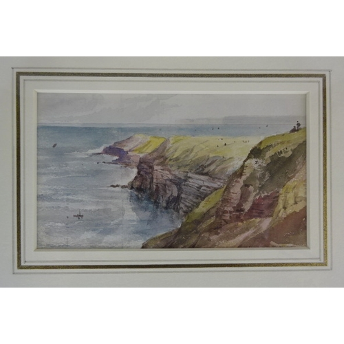 38 - The Coastline At Filey framed watercolour by George Richard Vawser 15 x 8cm.