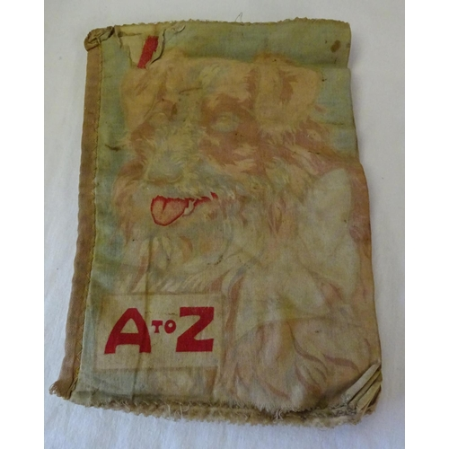 14 - A cloth printed book together with a quantity of toy cars, a small globe, cigarette cards, football ...