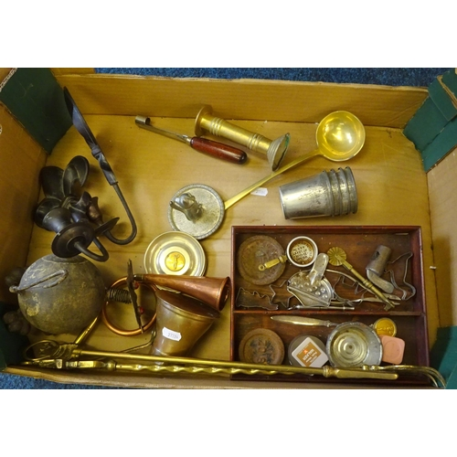 17 - A quantity of various metal wares to include candlesticks, fire screen,  fire tongs etc.