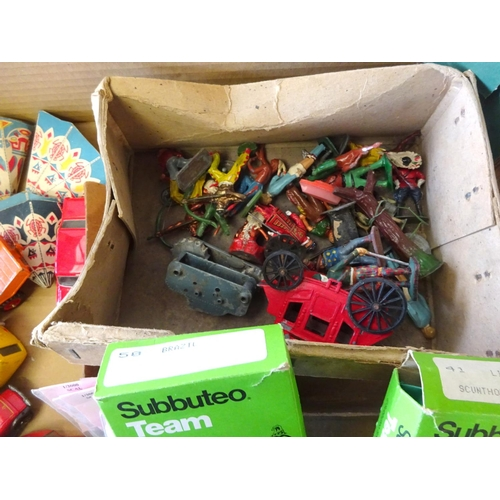 24 - Various die-cast vehicles together with figures, subbuteo etc af play worn.