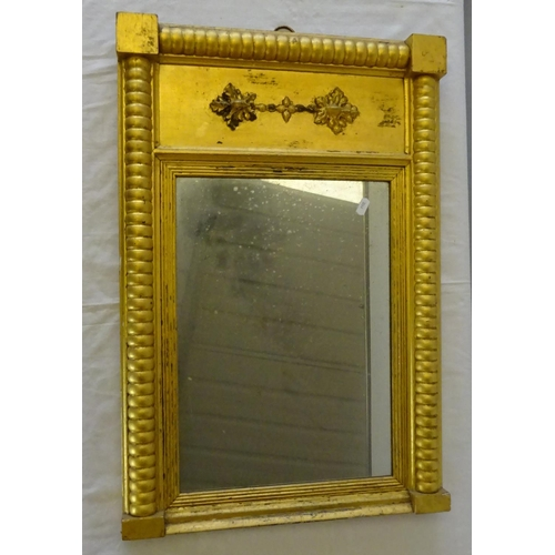 30 - A 19thC gilt framed mirror, foxing to the mirror 46cm x  67cm, together with a painted pillar 92cm t...