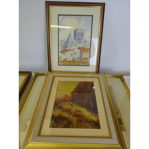 35 - A watercolour of a sailing yacht signed Stanley Jones. 39cm x 50cm together with three further pictu...